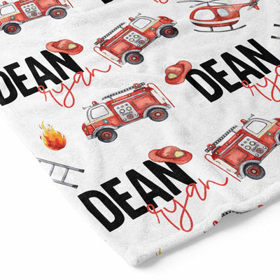 firetrucks helicopter personalized custom toddler kid blanket