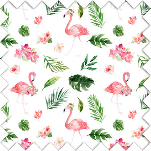 Flamingo and Palm Fabric Swatch for your Nursery
