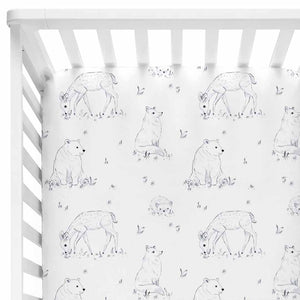 Weston's Woodland Crib Sheet with bears and deer