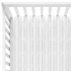 Weston's Woodland - Gray Simple Line Crib Sheet