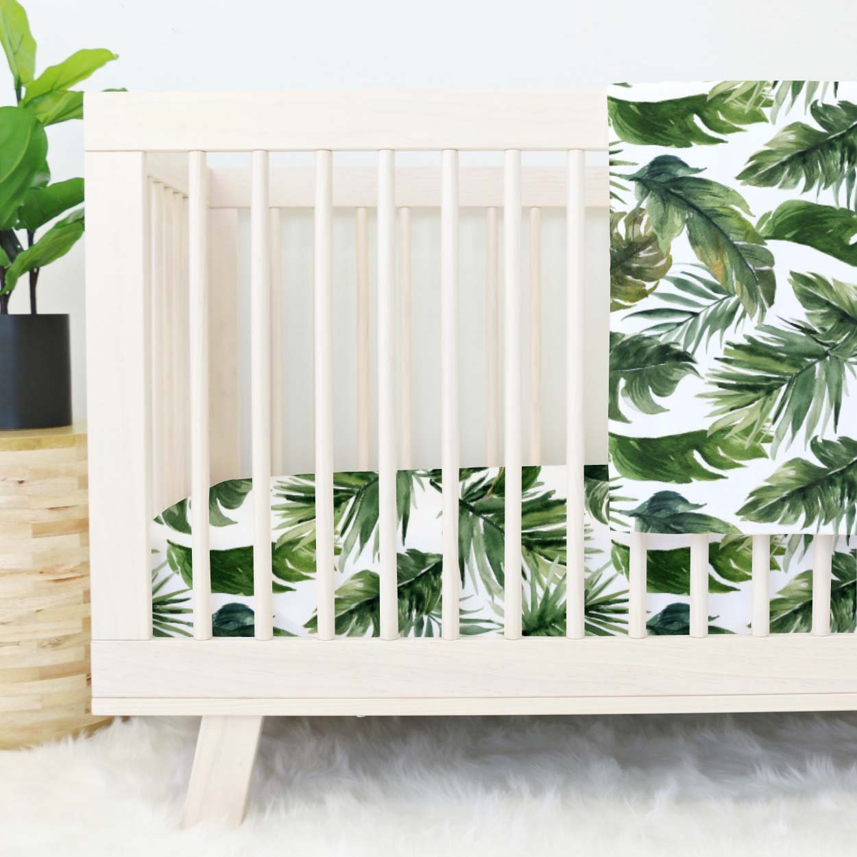 Forest Palm Collection Baby Name Blanket Personalized Toddler Blanket Green Palms Large Personalized Baby Crib Blanket