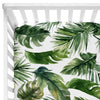 Dark Green Forest Palm Crib Sheet