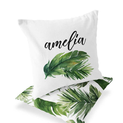 Olive Green Forest Palm Custom Name Accent Throw Pillow