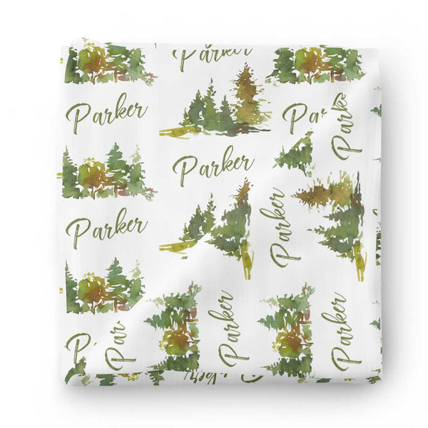forest trees baby name swaddle