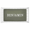 Personalized Baby Name Olive Green Color Jersey Knit Crib Sheet in Block Print Style