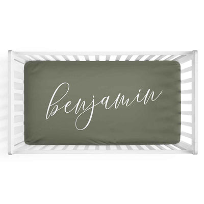 Personalized Baby Name Olive Green Color Jersey Knit Crib Sheet in Centered Script Style