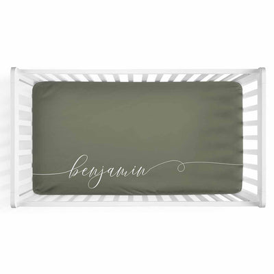 Personalized Baby Name Olive Green Color Jersey Knit Crib Sheet in Swash Line Script Style