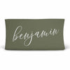 Personalized Olive Green Color Jersey Knit Changing Pad Cover in Script