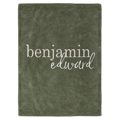 Olive Green Color Story Personalized Name Soft Fleece Toddler Throw Blanket