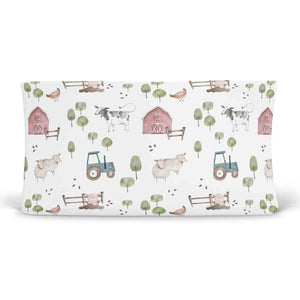 frankie's farm party soft knit changing pad cover
