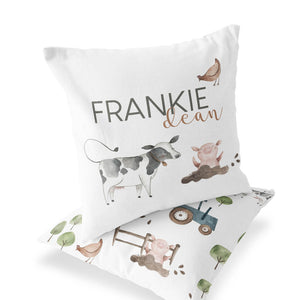 frankie's farm party personalized throw pillow