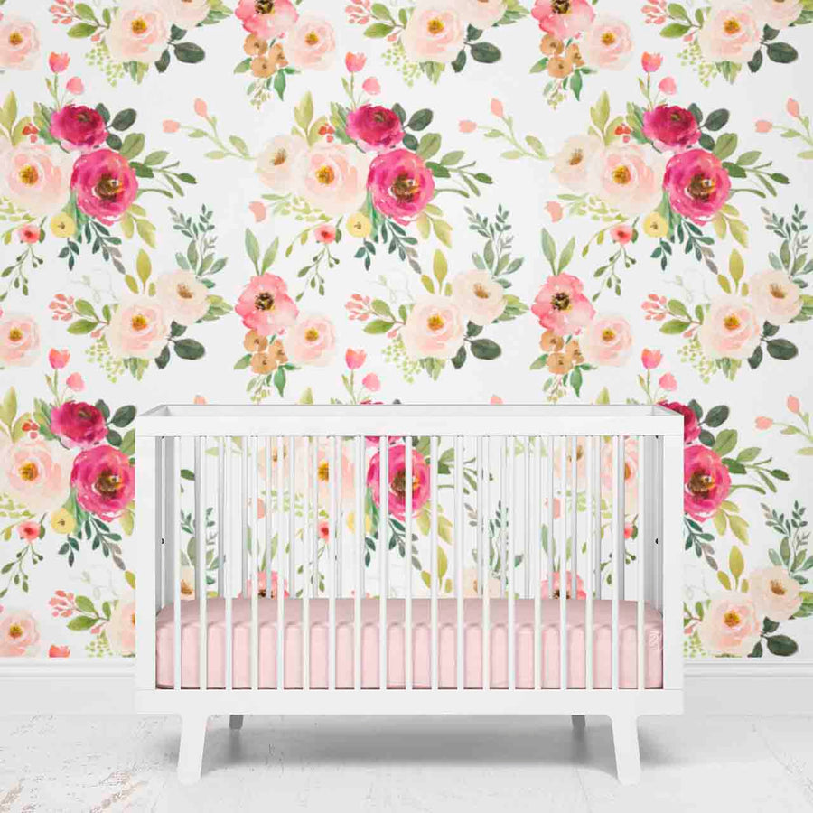 blush and fuchsia girl nursery wallpaper