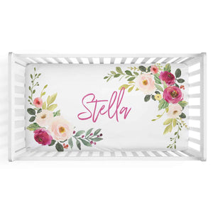 Franny's Blush & Magenta Farmhouse Floral Personalized Crib Sheet