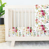 Franny's Blush and Magenta Farmhouse Floral Crib Bedding Set