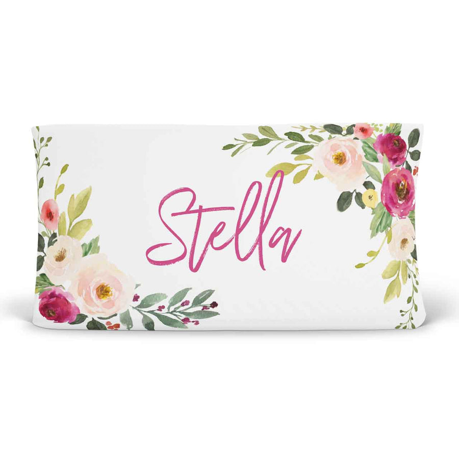 Franny's Blush and Magenta Farmhouse Floral Personalized Changing Pad Cover