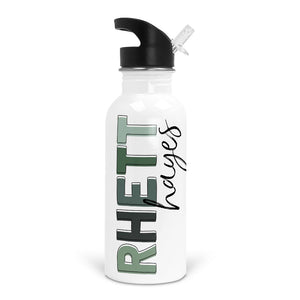 greens personalized name water bottle for kids