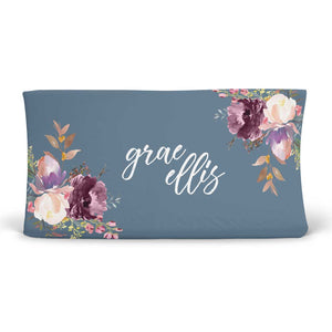 Grae's Dusty Blue Floral Personalized Changing Pad Cover