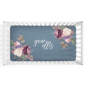 Grae's Dusty Blue Floral Personalized Crib Sheet