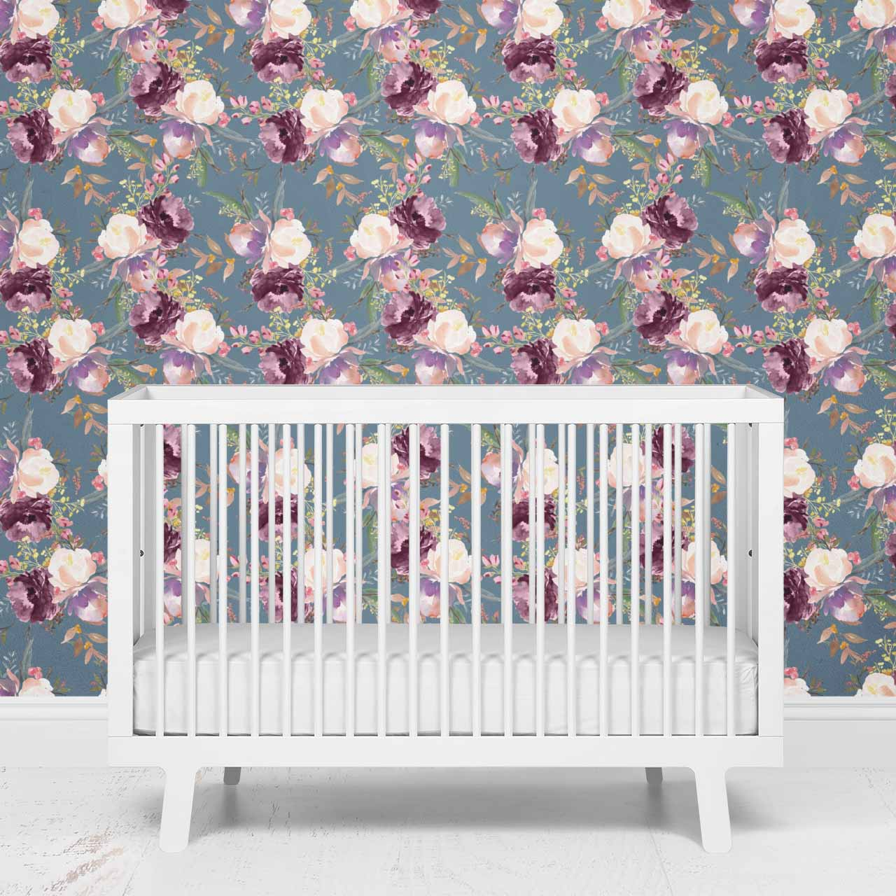 Grae S Dusty Blue Floral Removable Wallpaper