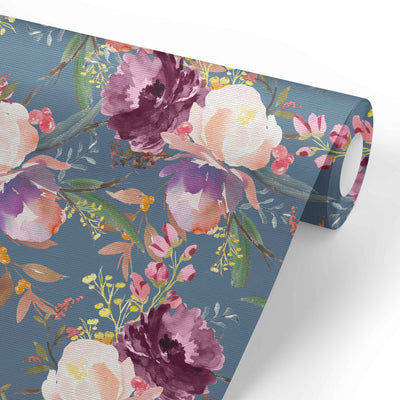 dusty blue floral wallpaper