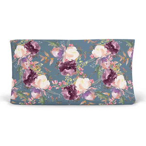 Grae's Dusty Blue Floral moody changing pad cover