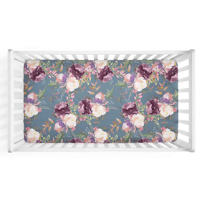 Grae's Dusty Blue Floral Crib Sheet for a moody floral nursery