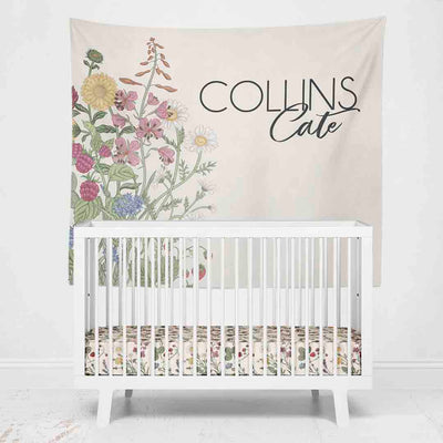 Gwen's Garden Floral Personalized Wall Tapestry Over Crib
