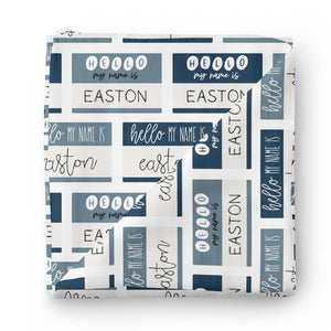 Hello My Name Is Personalized Swaddle Blanket BLUES