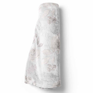 Ivy's Vintage Ivory Floral minky white baby blanket