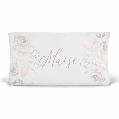 Ivy's Vintage Ivory Floral Personalized Changing Pad Cover