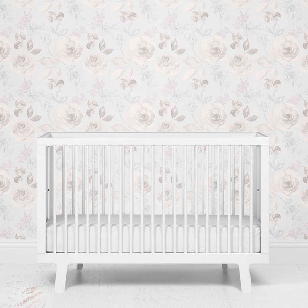 ivory floral removeable wallpaper