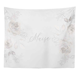Ivy's Vintage White Floral Personalized Wall Tapestry over crib