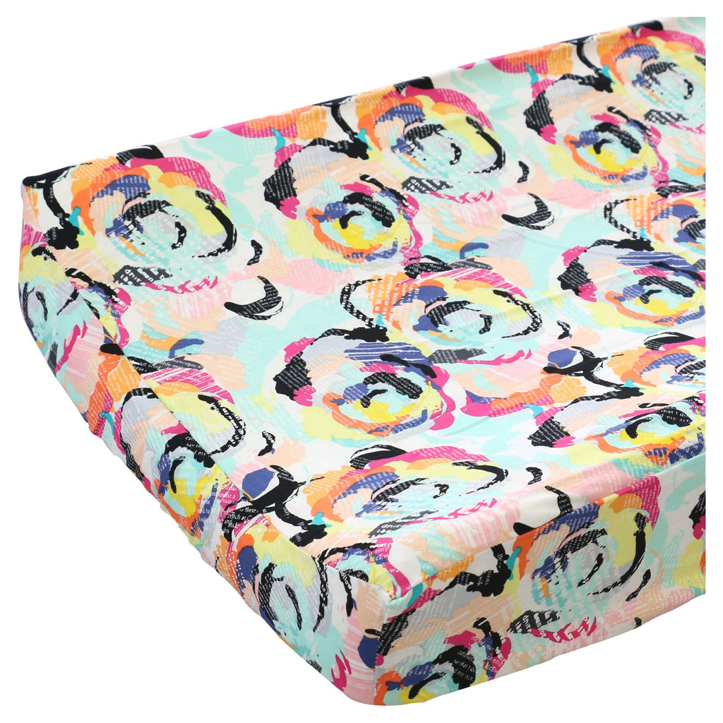 Bright Floral Modern Hot Pink, Aqua, Yellow, Black and Gray Changing Pad cover