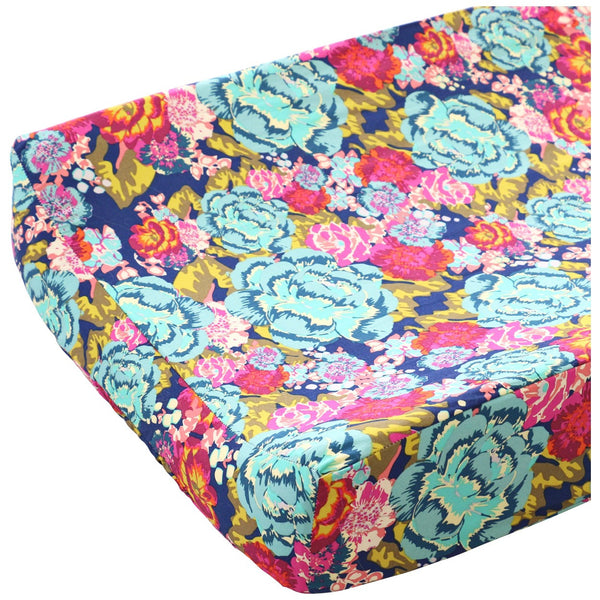 Jocelyn's bold navy, teal, coral, and pink floral baby girl changing pad cover