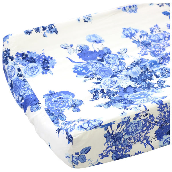 Juliet's blue & white floral contoured changing pad cover