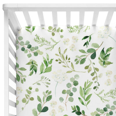 neutral leafy greenery crib fitted sheet