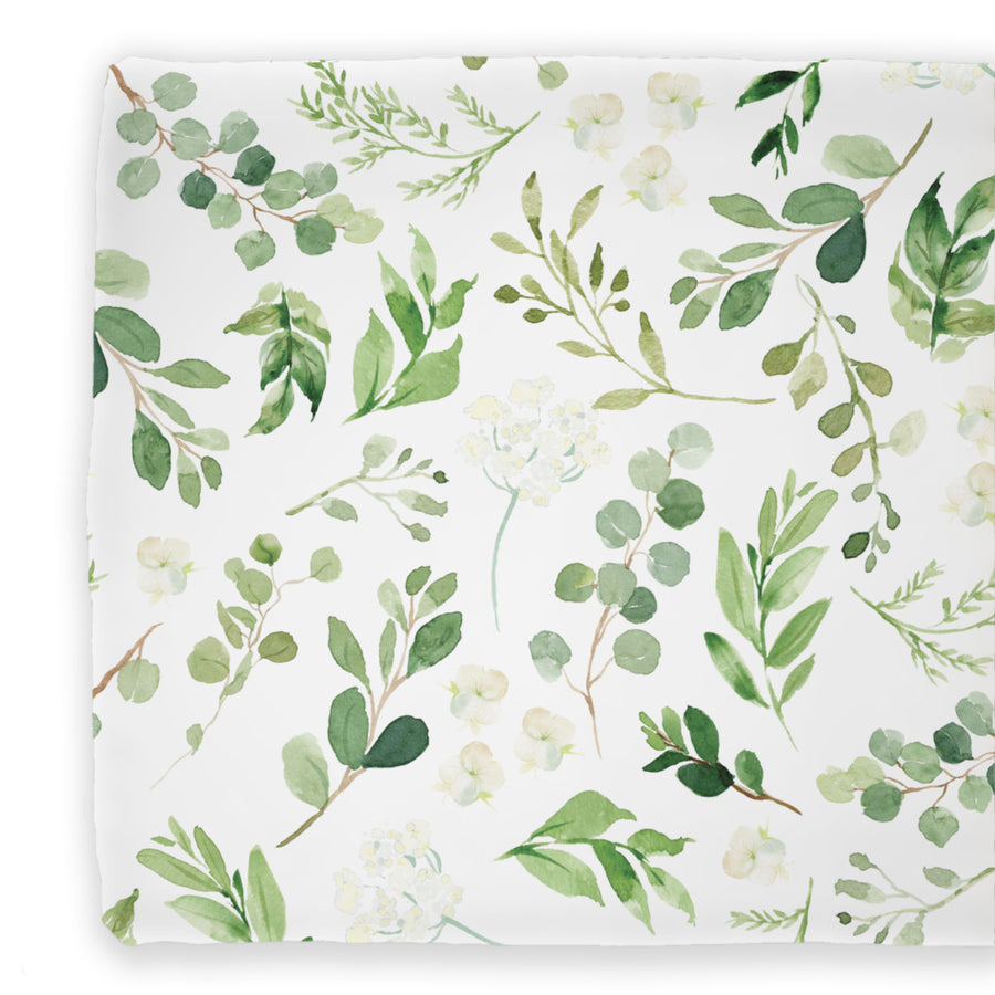 Leafy Greenery Neutral Contoured Changing Pad Cover