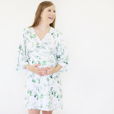 Leafy Greenery Knit Maternity and Delivery Robe