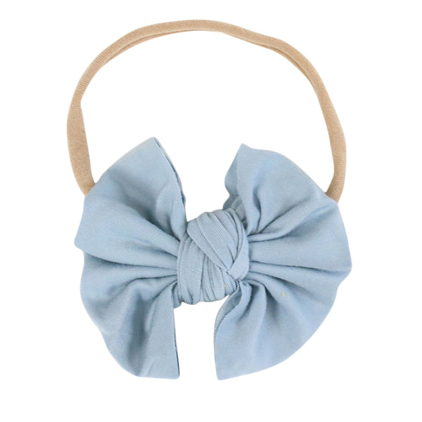 Solid Light Dusty Blue Knit Bow Headband
