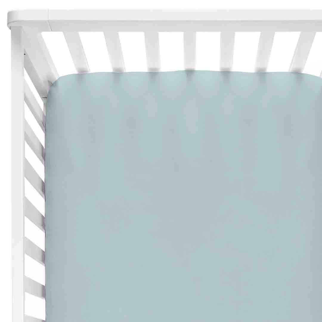 Color Story | Solid Light Dusty Blue Knit Crib Sheet