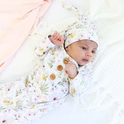 Maeve's Mauve & Mustard Floral Newborn Baby Knot Gown & Hat Set
