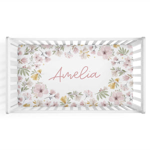 Maeve's Mauve & Mustard Floral Personalized Crib Sheet