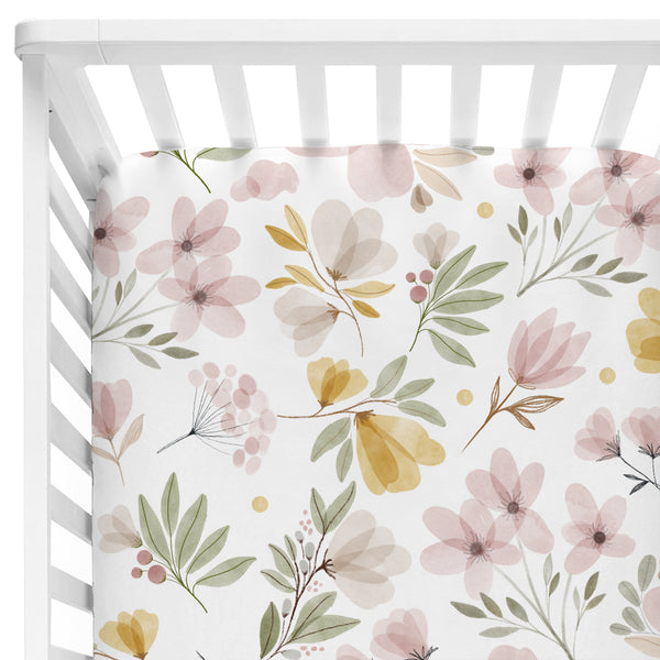 blush and mustard floral crib sheet