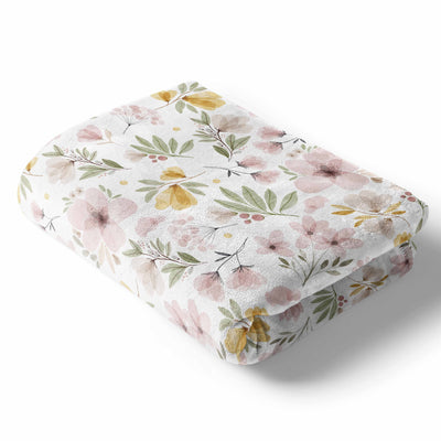 maeve's mauve and mustard watercolor floral soft minky baby stroller toddler throw blanket