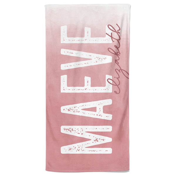 Mauve Ombre Personalized Kids Beach Towel