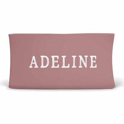 Personalized Dusty Rose Jersey Knit Changing Table Cover with Block Print