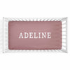 Personalized Baby Name Dusty Rose Color Jersey Knit Crib Sheet in Block Print Style