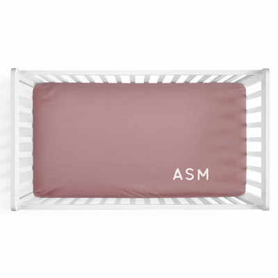 Personalized Baby Name Dusty Rose Color Jersey Knit Crib Sheet in Corner Initials Style