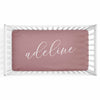Personalized Baby Name Dusty Rose Color Jersey Knit Crib Sheet in Centered Script Style