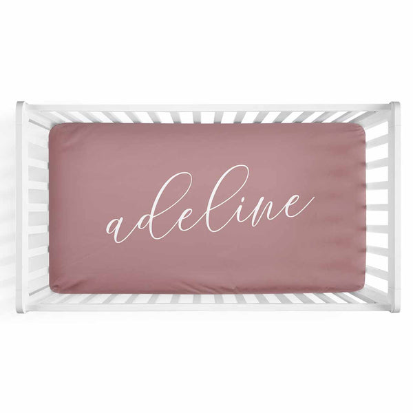 Personalized Baby Name Dusty Rose Color Jersey Knit Crib Sheet in Swash Line Script Style
